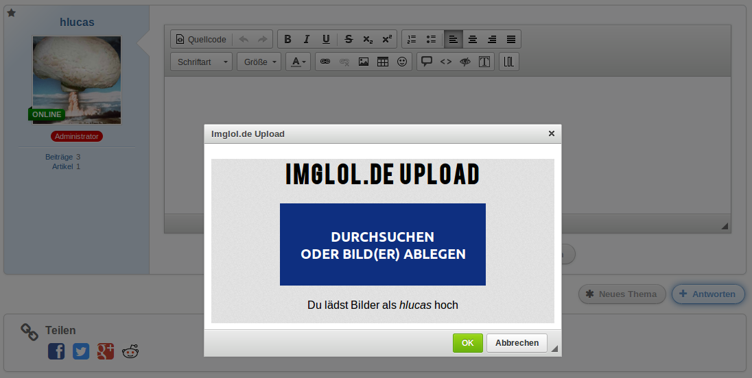 Imglol.de WBB 4 Plugin Preview